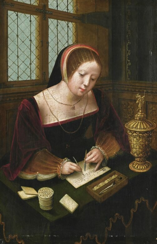 A Lady Writing at a Desk