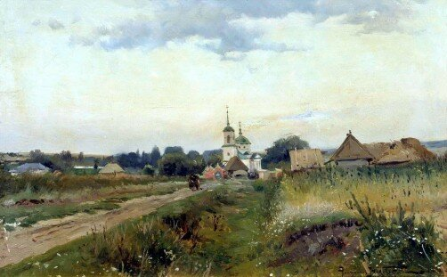 "Alexander Makovsky - ""Landscape with Church"""
