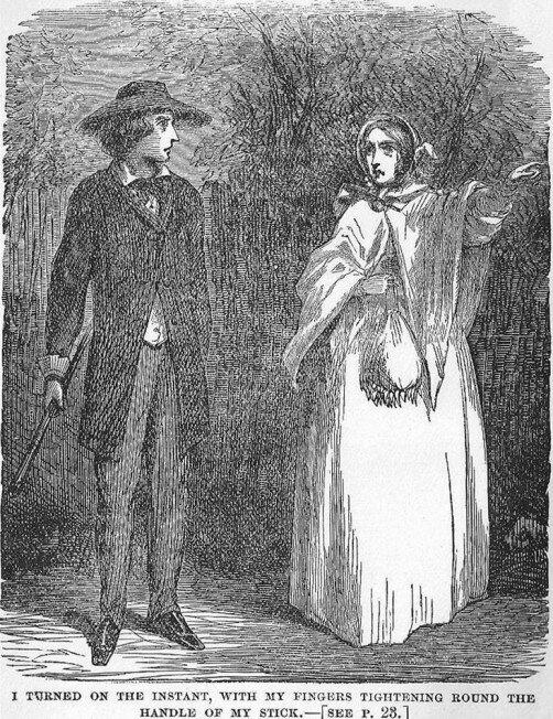 Walter Hartright møter den mystiske kvinnen i hvitt