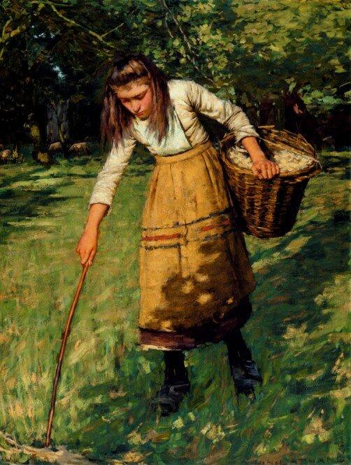 """Gathering Wool"" av Henry Herbert La Thangue"